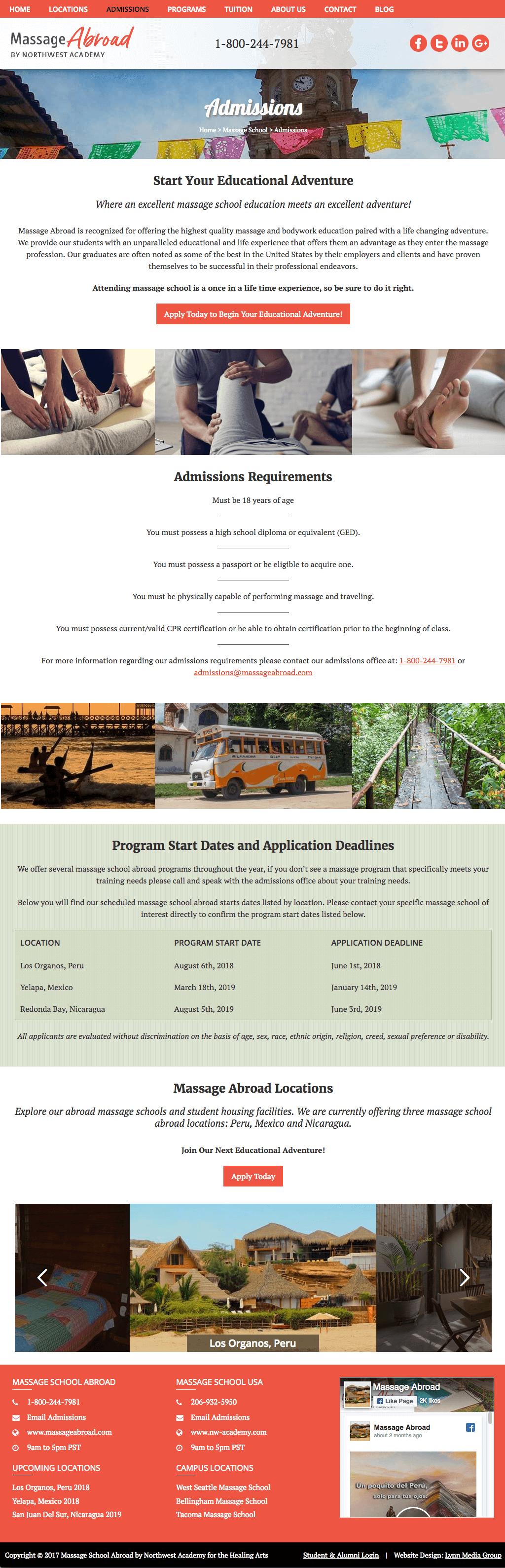 education abroad program website design